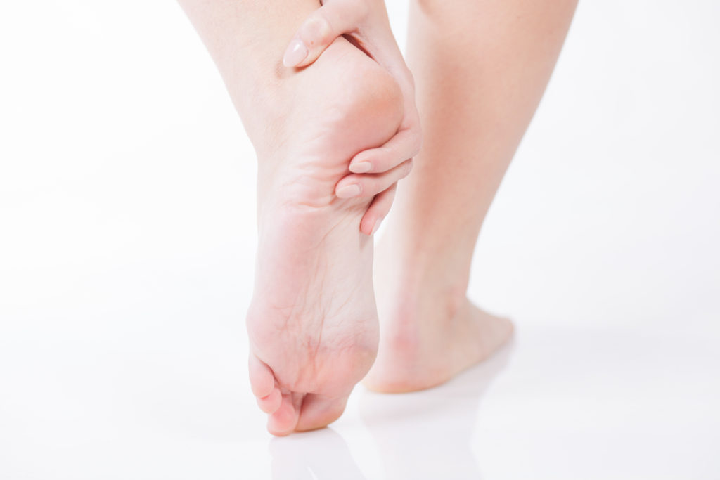 Female foot heel pain, Woman's problem concept