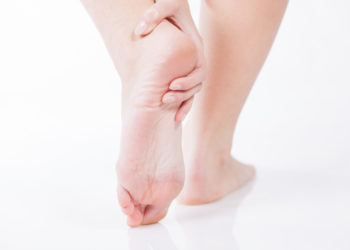 Female foot heel pain, Woman's problem concept