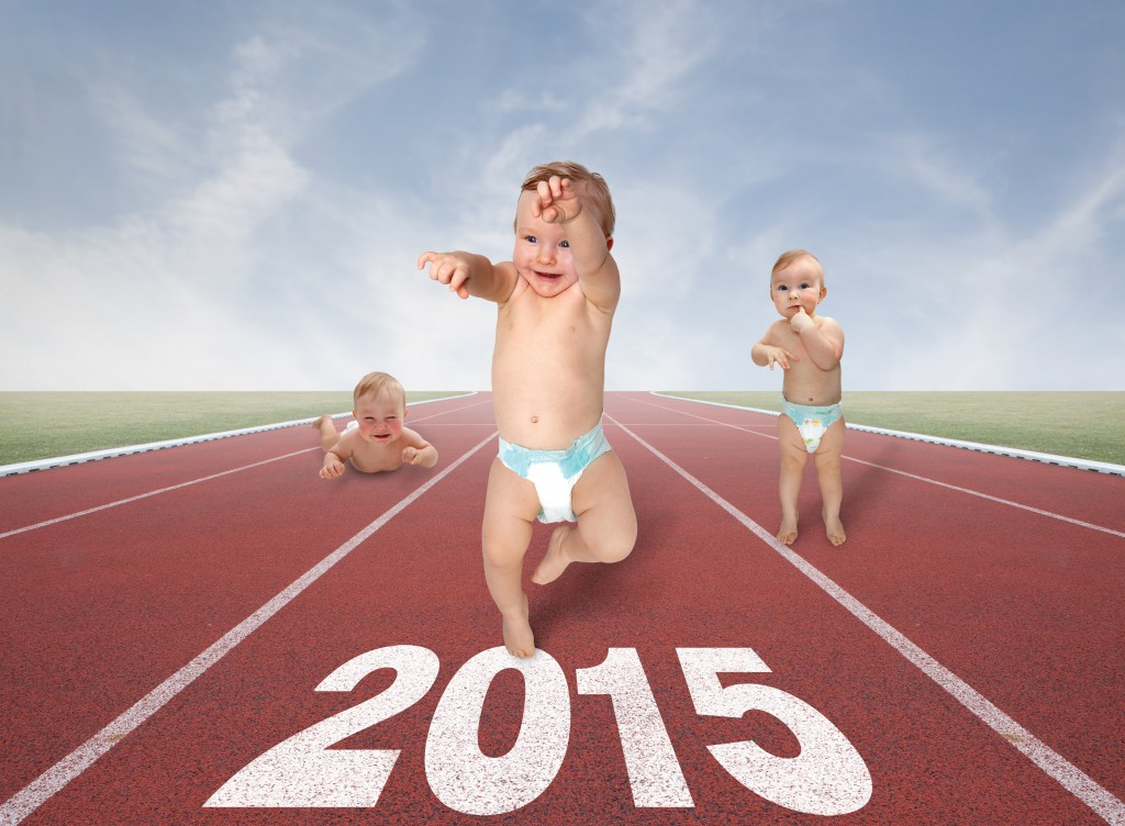 small baby running race in the new year