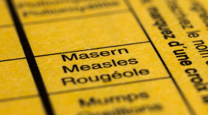 Rubrik Masern im gelben Impfbuch