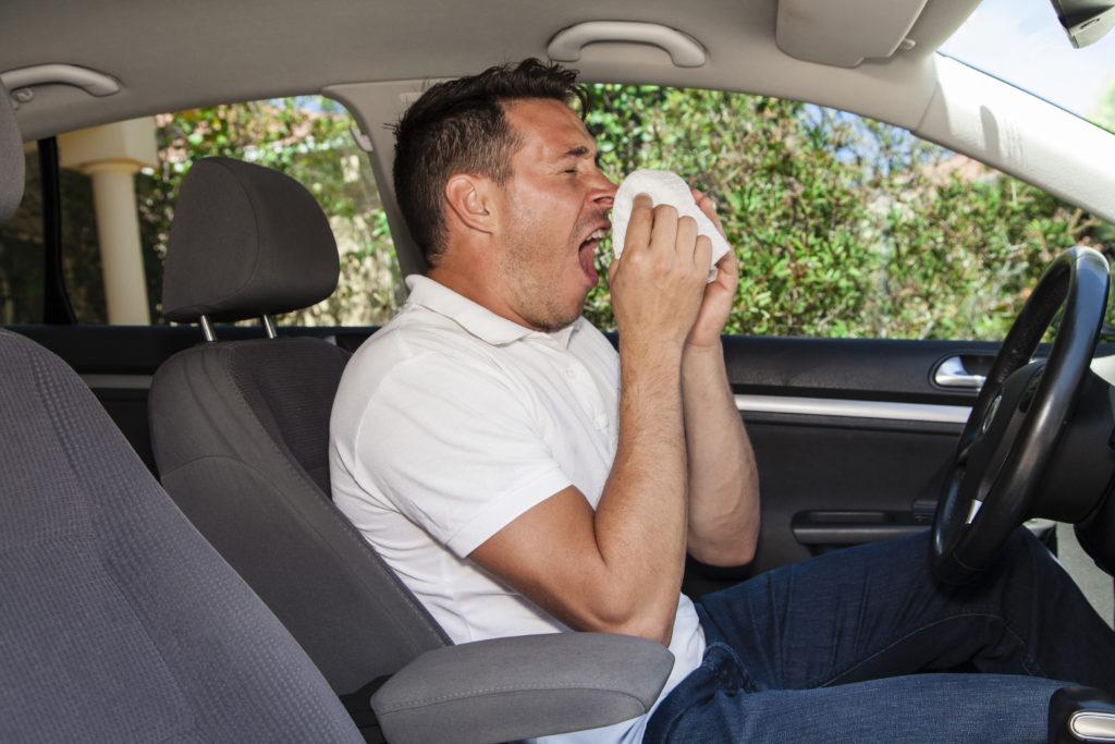 Bei Menschen, die an Pollenallergie und Heuschnupfen leiden, kommt es immer wieder zu heftigen Niesattacken. Sitzen sie währenddessen gerade am Steuer, kann dies für sie und andere Verkehrsteilnehmer gefährlich werden. (Bild: zstock/fotolia.com)