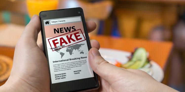 Eine Person hält ein Smartphone in der Hand, auf welchem ein als Fakenews gekennzeichneter Artikel zu sehen ist.