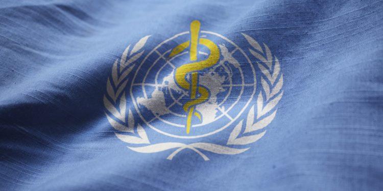 Blaue Flagge mit dem Symbol der Weltgesundheitsorganisation