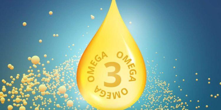 Omega-3 Tropfen auf Bild.