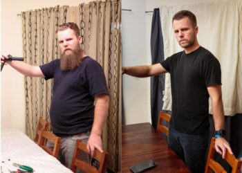 """Ein 33-jähriger US-Amerikaner entschloss sich nach jahrelangem trinken, dem Alkohol abzuschwören. Ein Jahr später hatte er 24 Kilo abgenommen. Wie gut ihm das tat, ist auf dem Foto zu sehen, das er auf der Webseite """"Reddit"""" postete. (Bild: reddit.com)"""