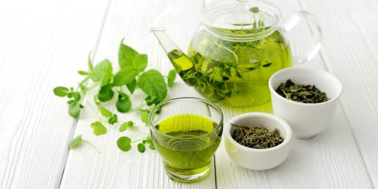 Grüner Tee in einer Kanne und einem Glas