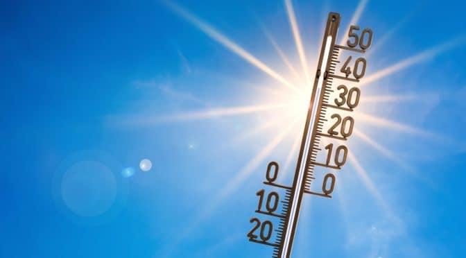 Ein Thermometer vor sommerlichem Hintergrund