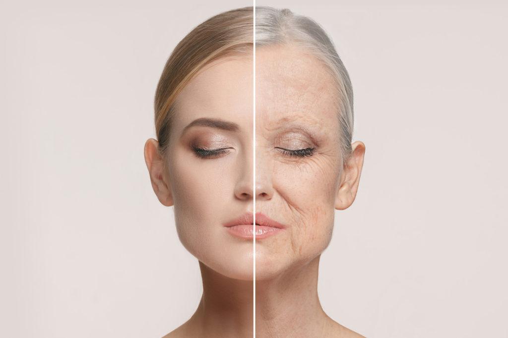 Gesicht einer jungen Frau im Vergleich mit einer älteren Frau.