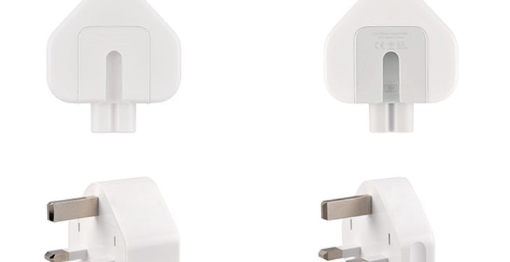 Darstellung zweier Netzteilstecker der Marke Apple