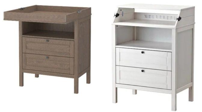 eine braunes und ein weiße Kommode von Ikea mit integriertem Wickeltisch