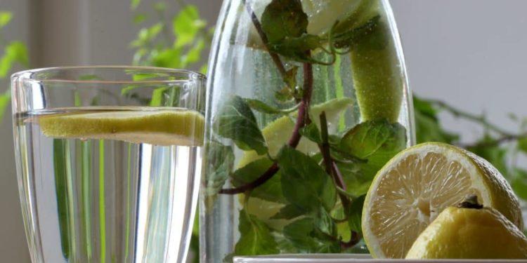Karaffe mit Wasser, Zitronenscheiben und Minze sowie ein Glas