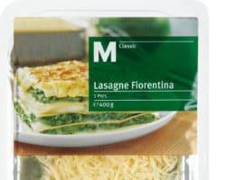 Abgepackte Lasagne Fiorentina der Handelsmarke Migros