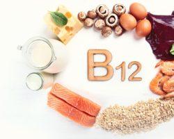 Unterschiedliche Vitamin B12 enthaltende Lebensmittel im Kreis angeordnet