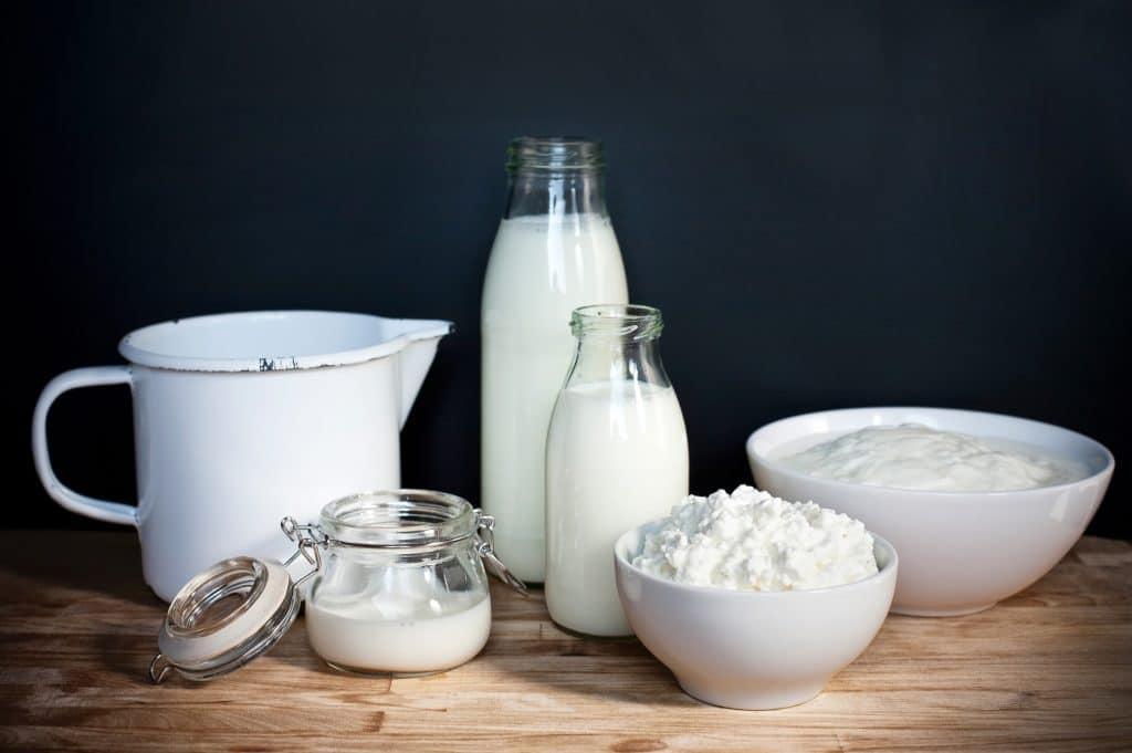 Behälter mit verschiedenen Milchprodukten