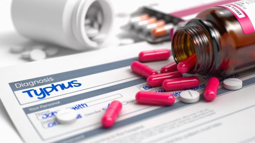 Thypus Krankenblatt und Medikamente