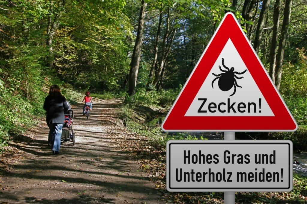 Warnschild Zecke, Familie geht im Zeckengebiet spazieren