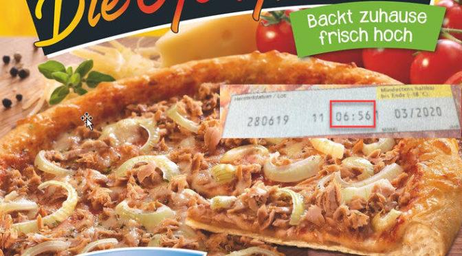 Ein Karton Tiefkühlpizza von Dr. Oetker