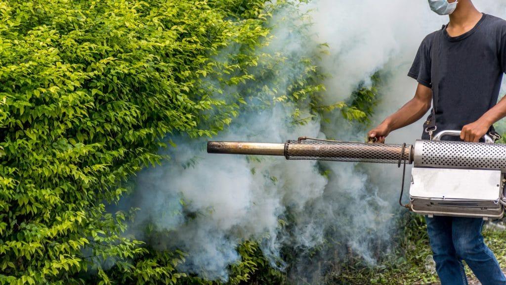 Ein Mann sprüht ein Insektizid in ein Gebüsch.