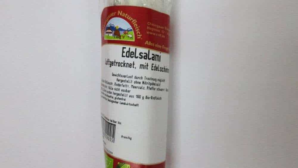 Eine Salami der Chiemgauer Naturfleisch GmbH