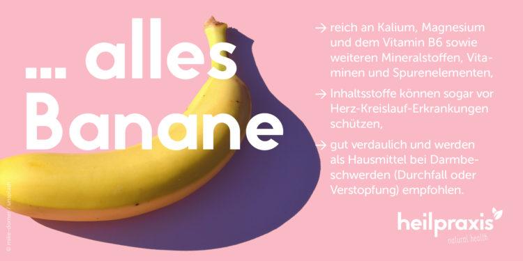 Abbildung einer Bananen mit einer Auflistung der Inhaltsstoffe und Wirkung