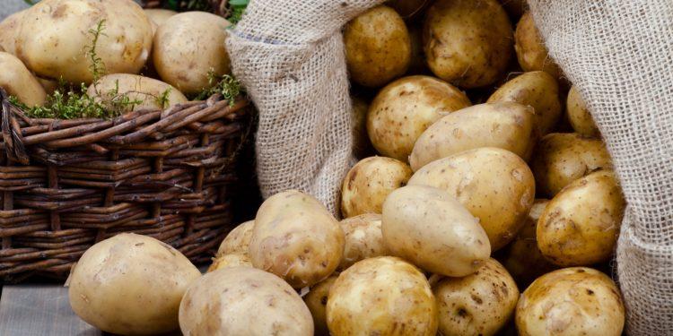Ein Korb und ein Sack voller Kartoffeln