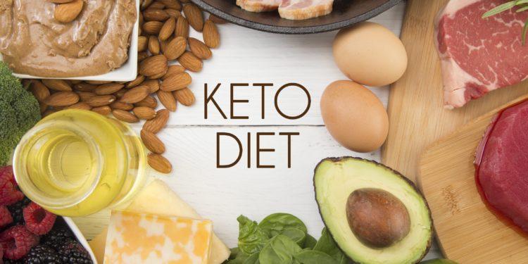 Verschiedene Lebensmittel wie Eier, Fleisch und Mandeln um den Schriftzug Keto Diet