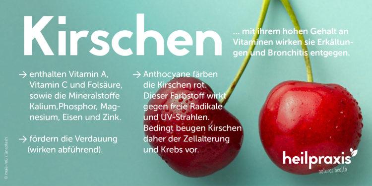 Abbildung von Kirschen mit einer Auflistung der Inhaltsstoffe und Wirkung