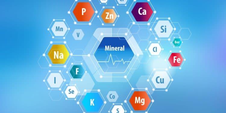 Schematische Darstellung verschiedener Mineralstoffe und Spurenelemente in Form von Sechsecken, in deren Mitte jeweils die Abkürzungen der Stoffe stehen.