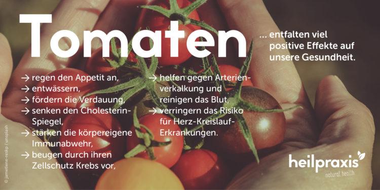 Tomaten Abbildung mit einer Auflistung der Inhaltsstoffe und Wirkung