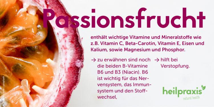 Passionsfrucht Abbildung mit einer Auflistung der Inhaltsstoffe und Wirkung