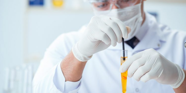 Mediziner testet Urin eines Patienten