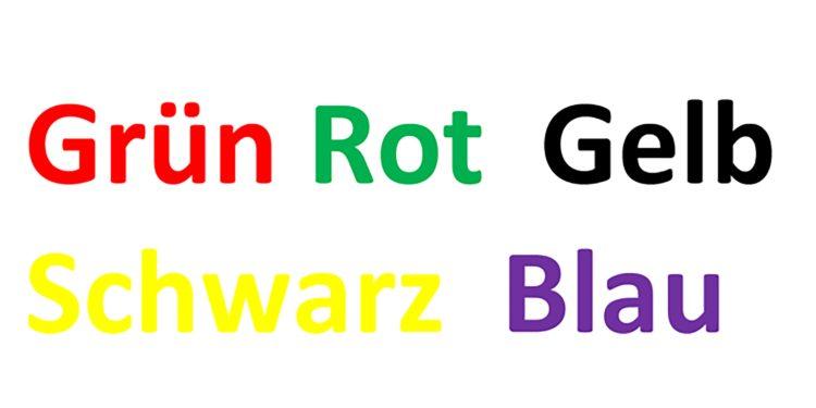 Einige Worte von Farben sind in einer Farbe geschrieben, die nicht zum Wort passt. Beispielsweise ist das Wort rot in grüner Farbe geschrieben.