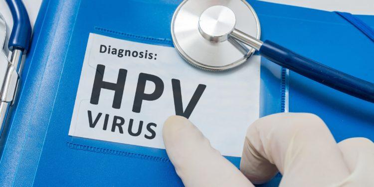Blauer Ordner mit Patientenakten mit HPV-Virusdiagnose