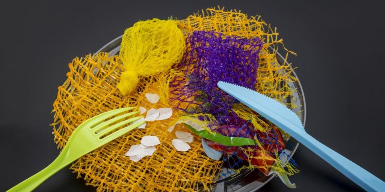 Teller mit Plastikbesteck, Plastiknetzen und anderen Plastikteilen.