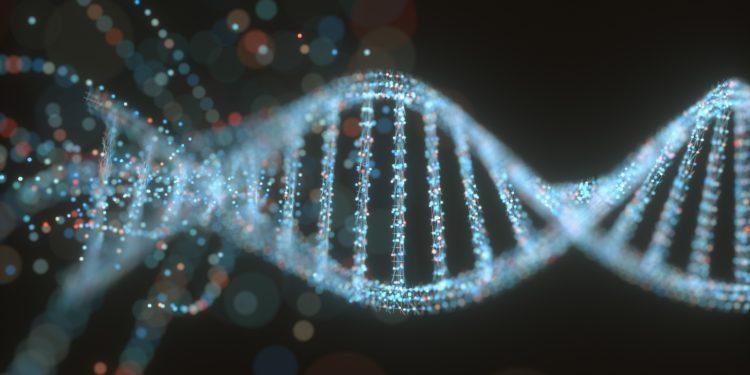 Buntes DNA-Molekül. Konzeptbild einer Struktur des genetischen Codes.