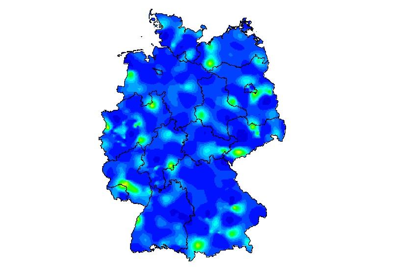 Eine Deutsclandkarte zeigt Gebiete mit erhöhter Influenza-Ansteckungsgefahr.