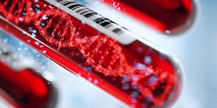 Blutproben mit Barcode und DNA Doppelhelix