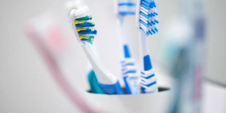 Mehrere Zahnbürsten stecken in einem Zahnputzbecher.