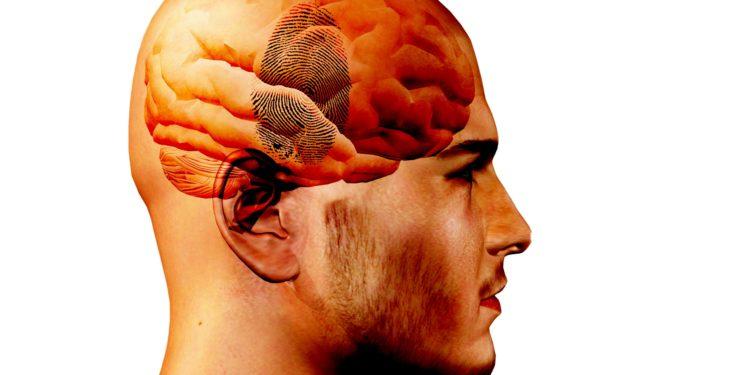 Eine grafische Darstellung eines Männerkopfes im Profil.