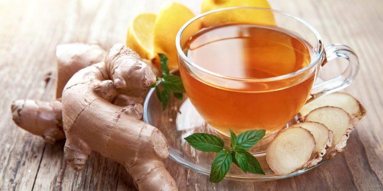 Tee mit Ingwer, Ingwerscheiben und Zitrone