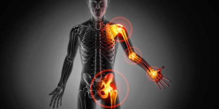 Grafische Darstellung eines menschlichen Skeletts.
