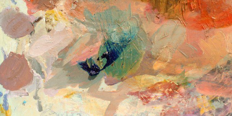 Freies Kunstwerk in Pastelltönen auf einer Leinwand