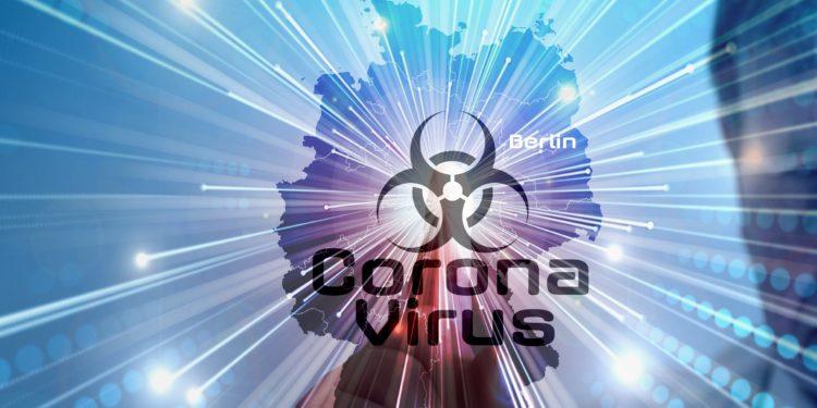 Eine Deutschlandkarte, mit dem Schriftzug Coronavirus.