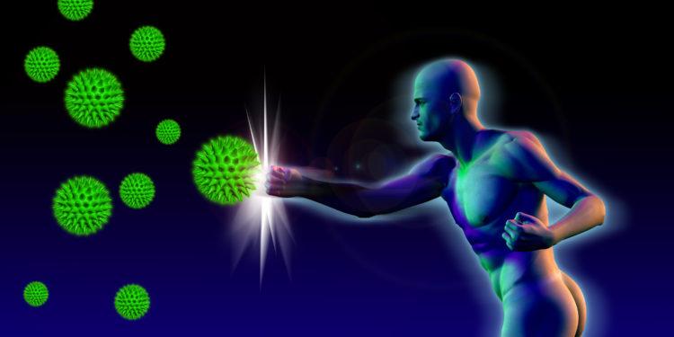 Eine grafische Darstellung eines Mannes, der mit der Faust Viren zurückschlägt.