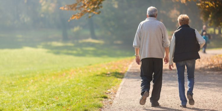 Ältere Paar geht im herbstlichen Park spazieren