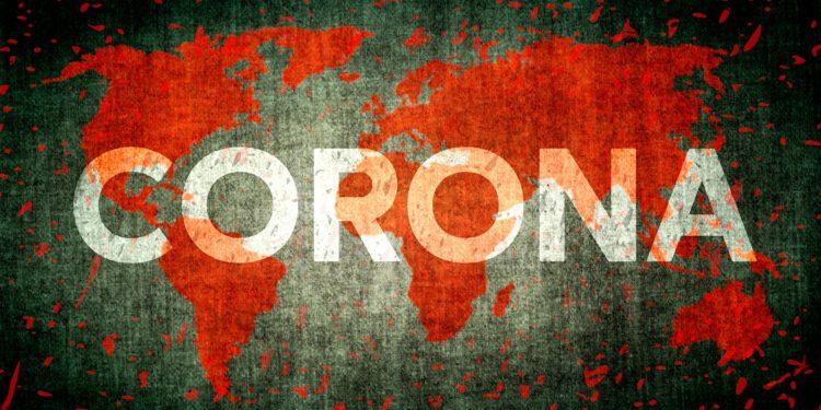Illustration einer rot eingefärbten Weltkarte mit dem quer darüber laufenden Schriftzug Corona