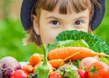 Mädchen hält verschiedene Gemüsearten hoch.