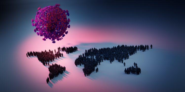 3D-Illustration der weltweiten Corona-Pandemie mit Menschen auf den einzelnen Kontinenten und einem groß dargestellten SARS-CoV-2-Erreger, welcher über der Erde schwebt.