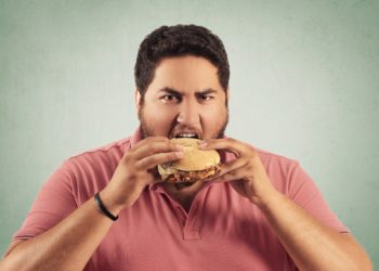 Fettleibiger Mann ist Hamburger.