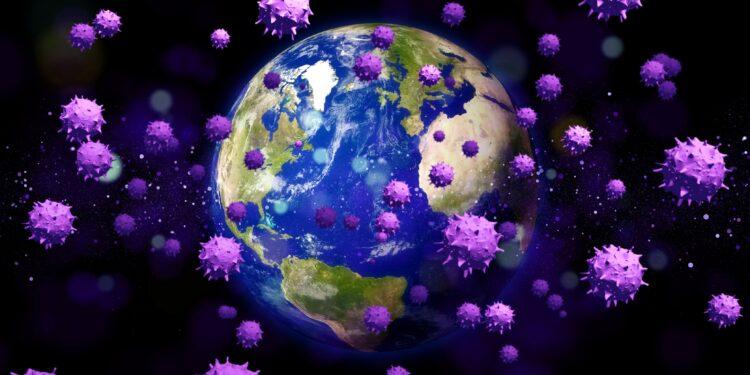 Animation von Viren die um den Erdball kreisen
